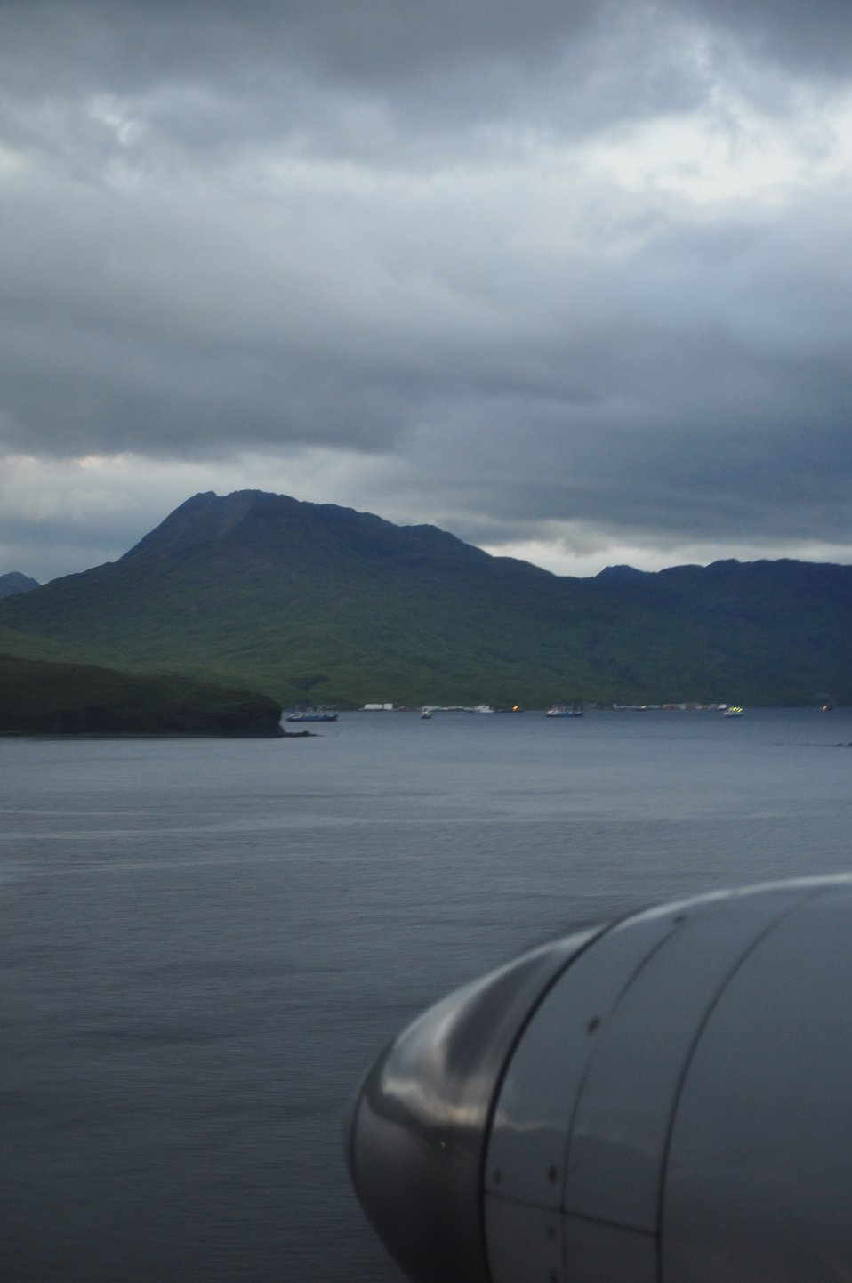 Final approach to Dutch Harbor.  Yikes!  Where's the airport!