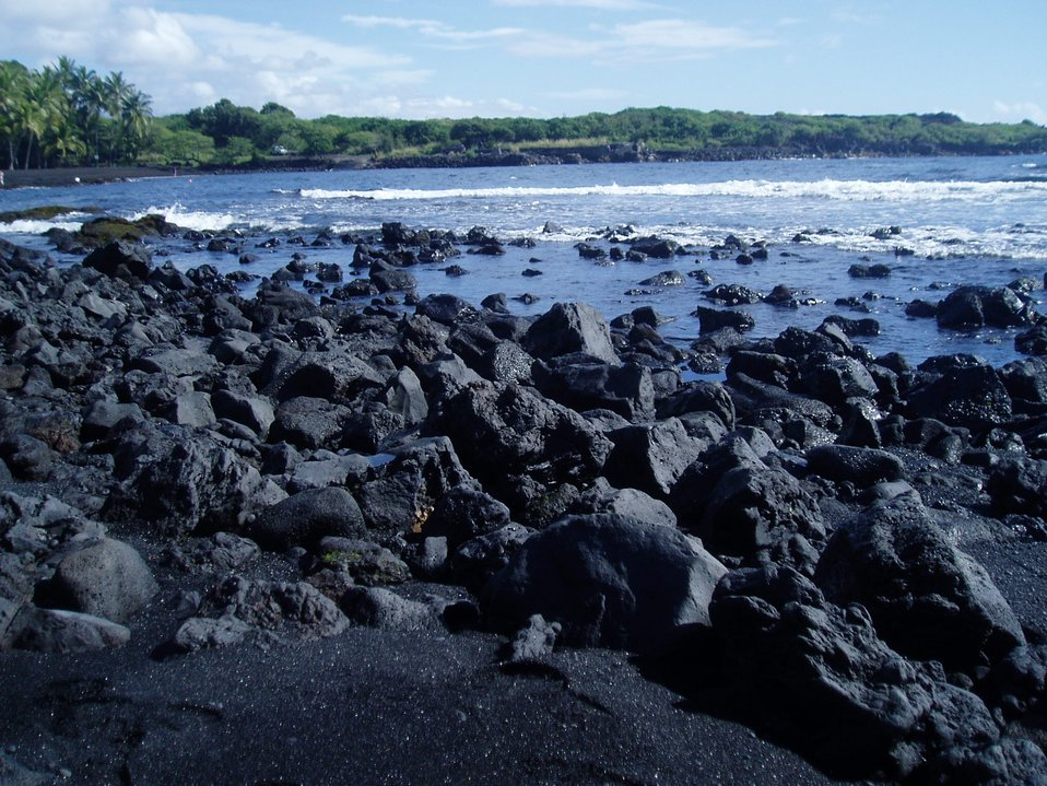 A recent lava flow forms the beach on the southeast side of the big island.