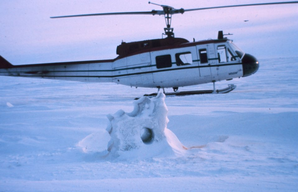 NOAA helicopter N56RF operating on the frozen seas of northern Alaska.