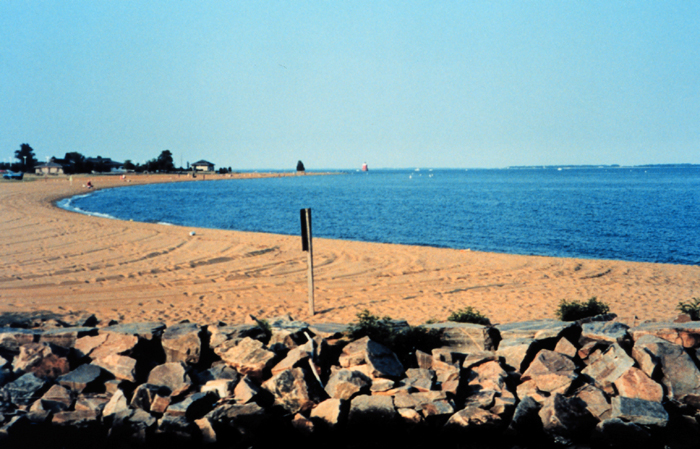 The beach at Sandy Point State Park.