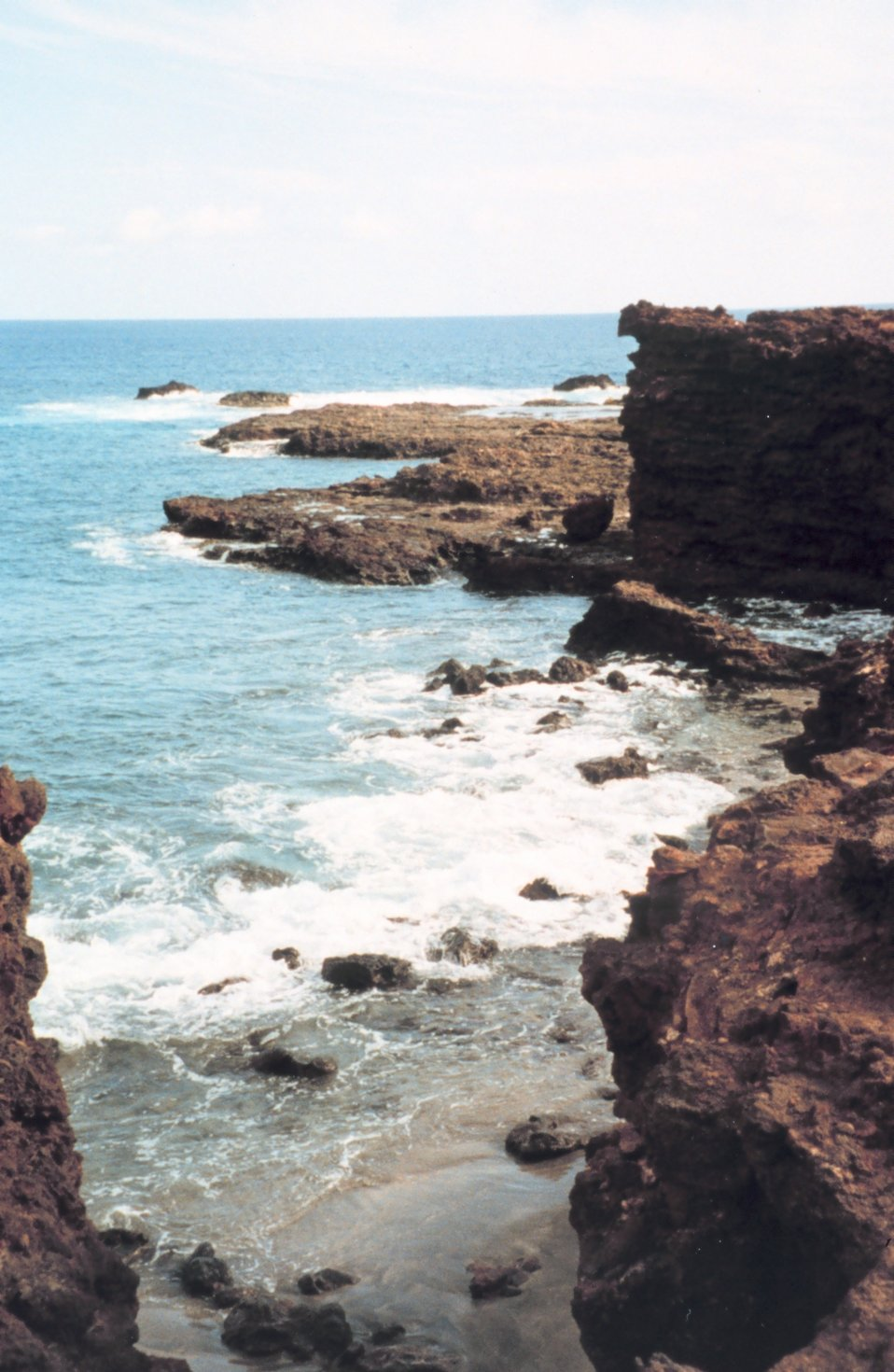 Sharp hard rocky shoreline