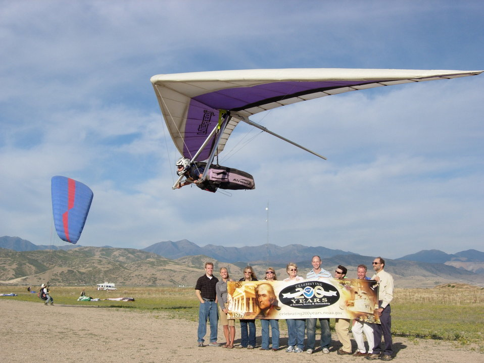 Hundreds of Utah glider pilots rely daily on NOAA's National Weather Service Salt Lake City aviation services, including soaring forecasts and observed surface and upper air wind information. Here at the Flight Park State Recreation  Area, hang glider a