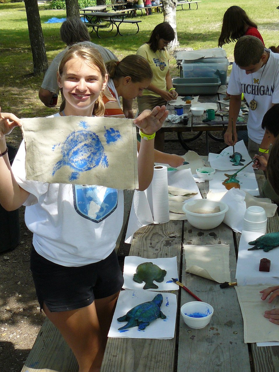 A Sea Grant sponsored function at which students produce artwork highlighting the fauna of the Great Lakes.