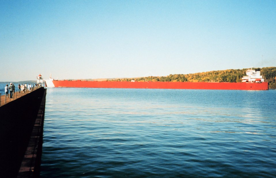Iron ore carrier departing Two Harbors area on Lake Superior