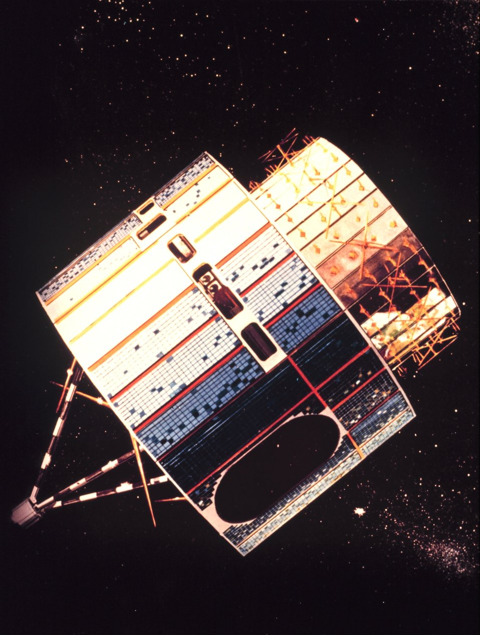 Graphic of the Synchronous Meteorological Satellite, the forerunner of the GOES satellites.