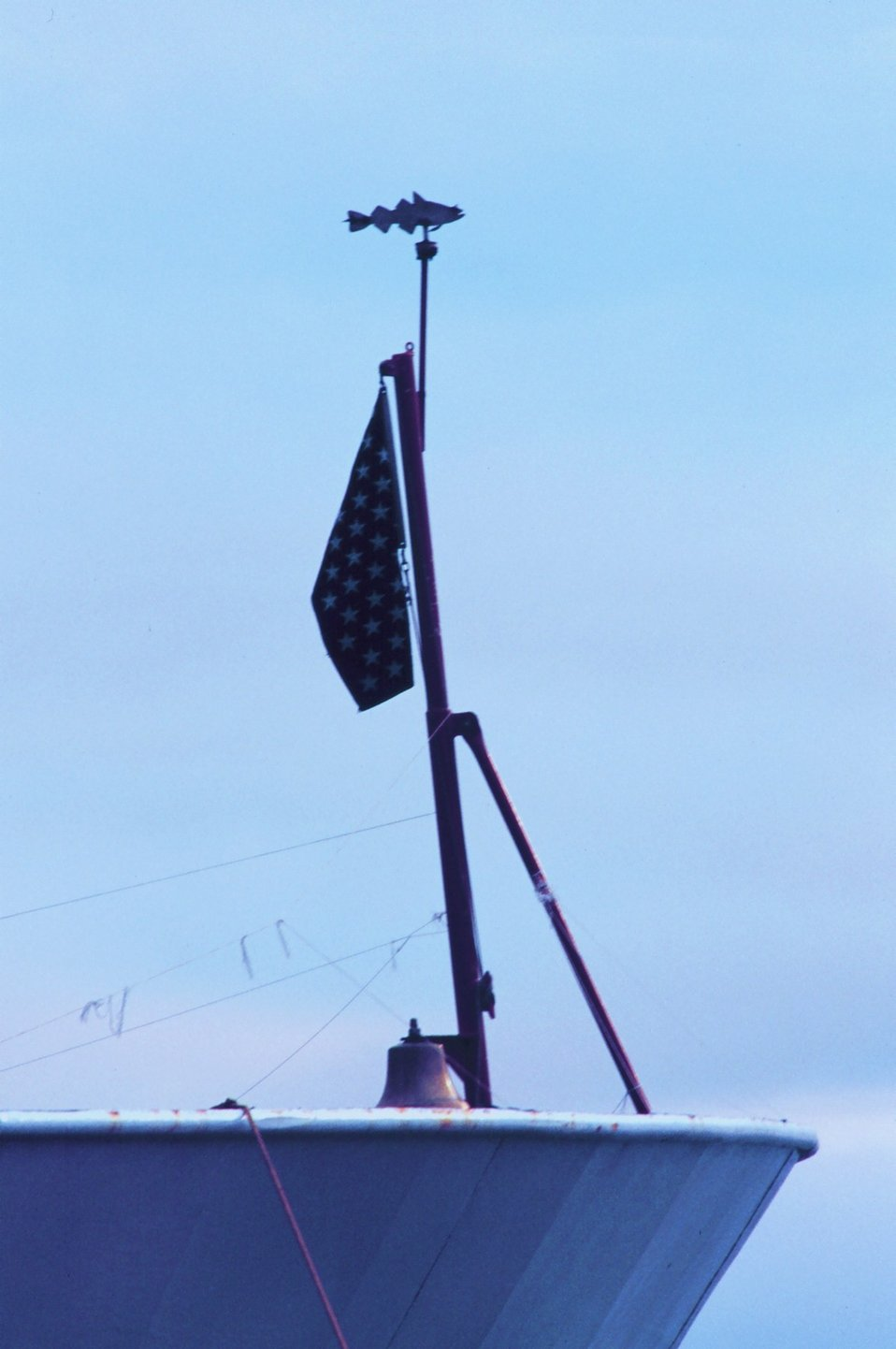 Old-fashioned fish wind-vane on the bow of the MILLER FREEMAN