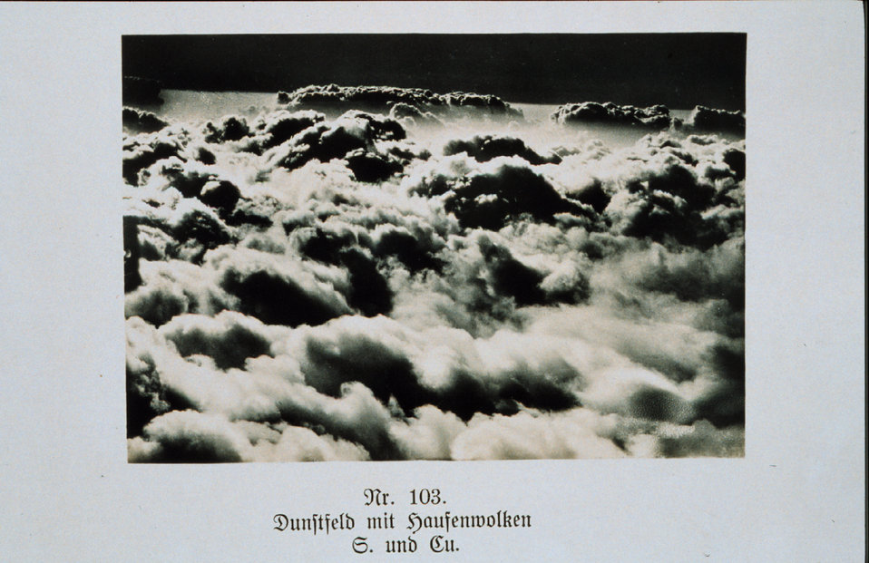 Flying above a sea of clouds - altostratus from an aircraft Plate Nr. 103 of 'Wolken im Luftmeer', a German cloud atlas Produced by flyers of the German Air Force. Library Call No.  QC923 .W65 1917 .