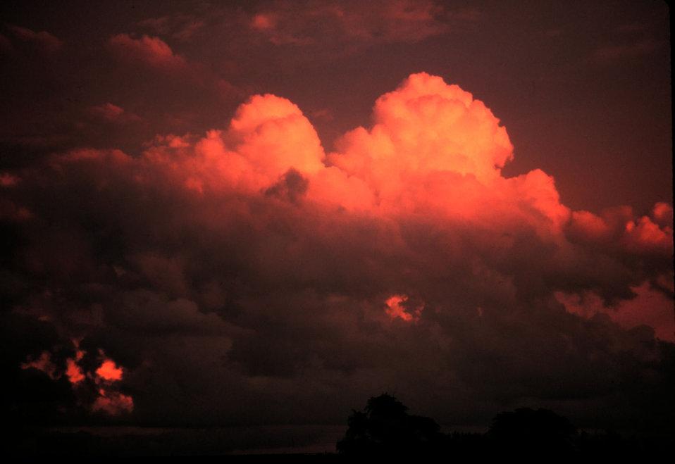 Large towering cumulus clouds