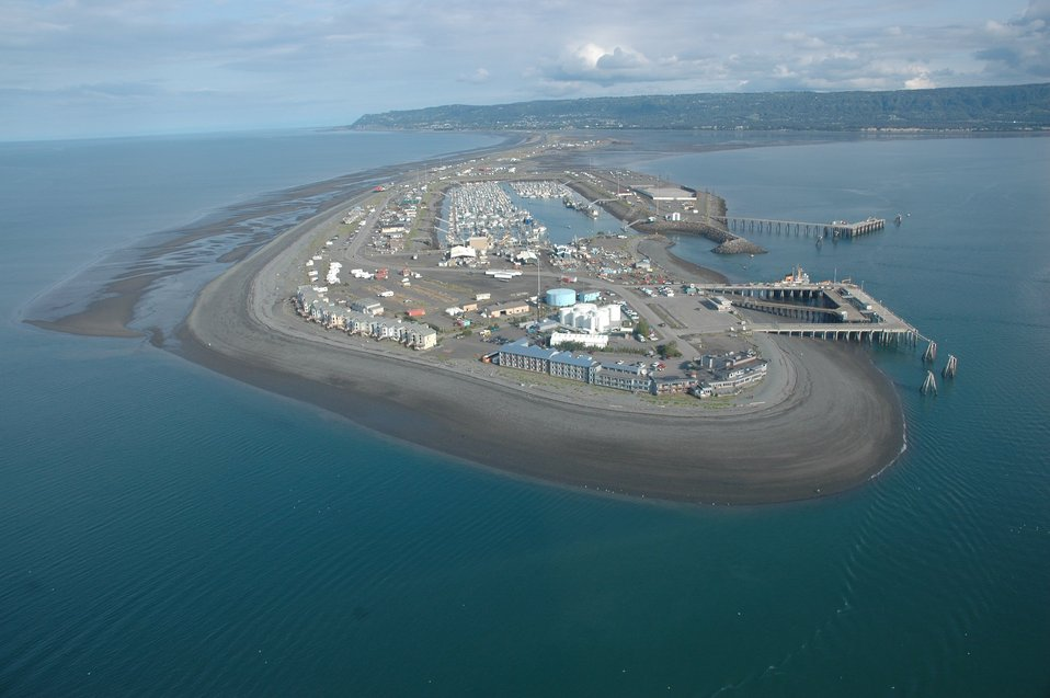 Aerial photograph. The Coast Guard base and piers at Homer Spit.