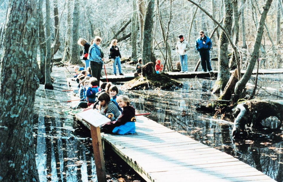 An elementary school outing at Flag Pond Marsh, a wetlands nature park.