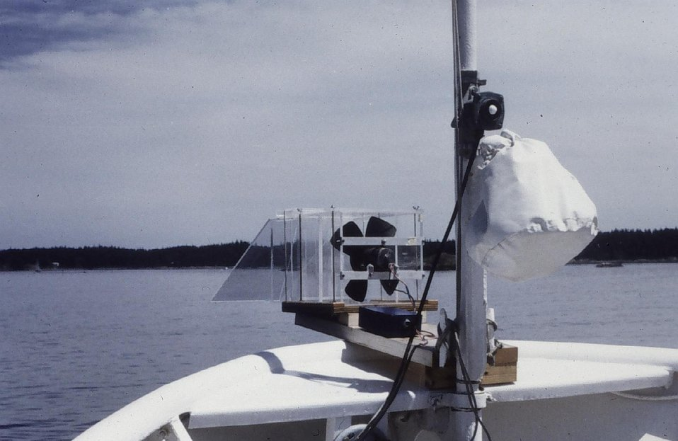 A fog sampler mounted on the bow of the PEIRCE. Fog sampler was designed to capture mist droplets. Fog captured would be analyzed for acid content