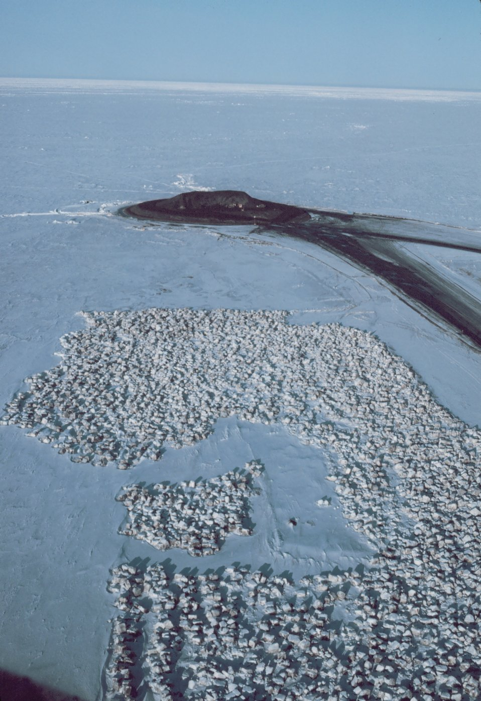 Building an artificial island in the Beaufort Sea.