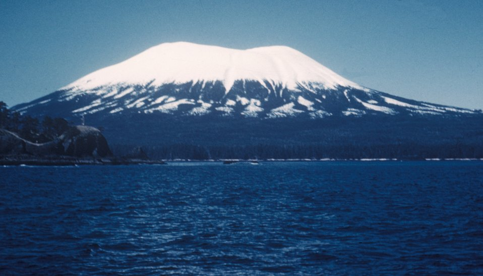 Mount Edgecumbe, a dormant volcano on the south end of Kruzof Island, can be seen from Sitka.