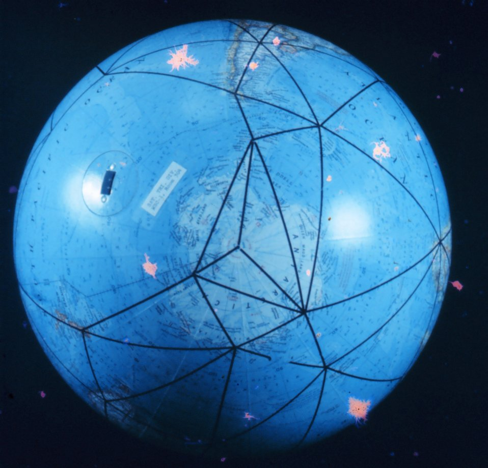 A global model of the satellite triangulation network.