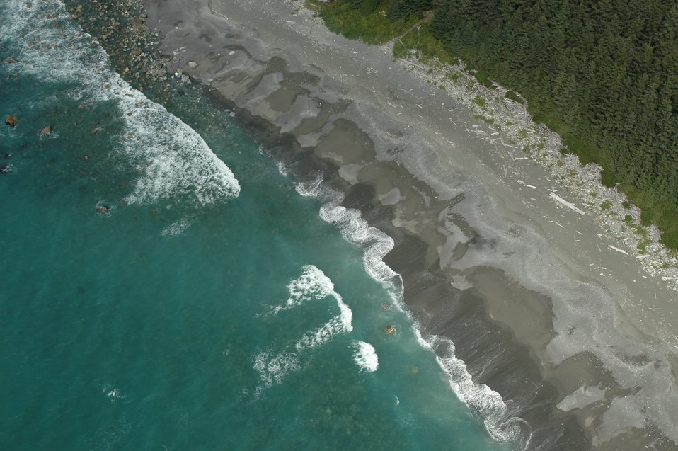 Aerial photograph.  Magnificent forest, driftwood, and a gray sand beach with rocky offshore washed by gentle surf.