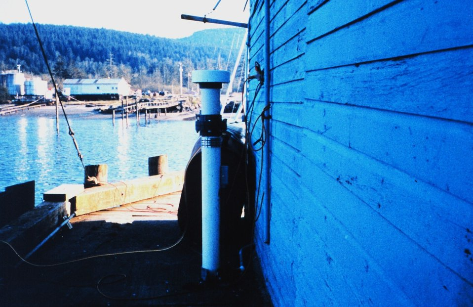 The tide gage installation on the Northwest Seafoods Company Pier.