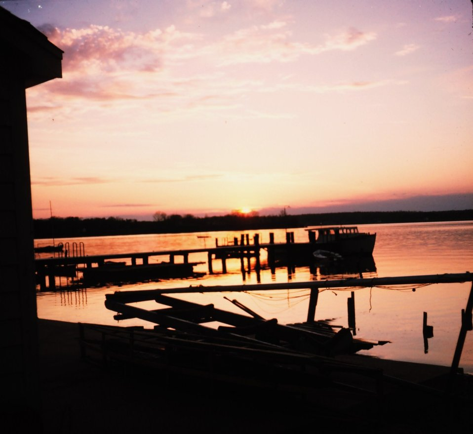 Sunset over the St. Mary's River from the boathouse at St. Mary's College of Maryland.