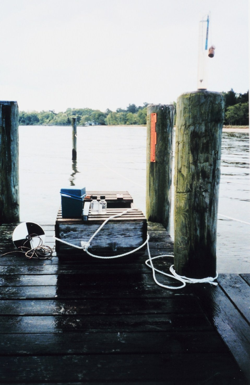Water quality testing equipment and a 'live box' for crabs.