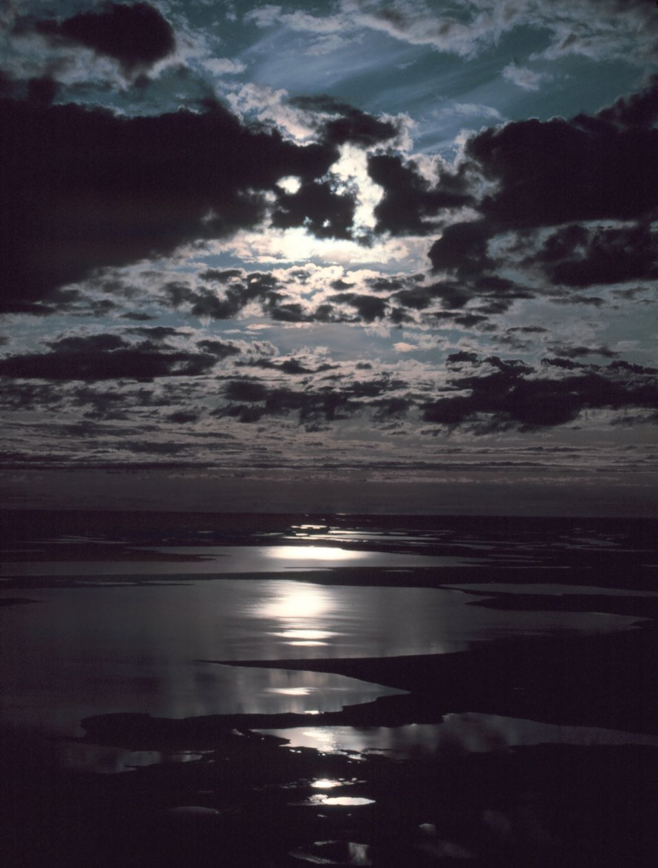 Moonbeams reflecting off the Beaufort Sea.
