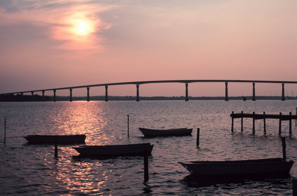 Sunset over the Thomas Johnson Bridge joining Calvert and St. Mary's Counties Maryland.