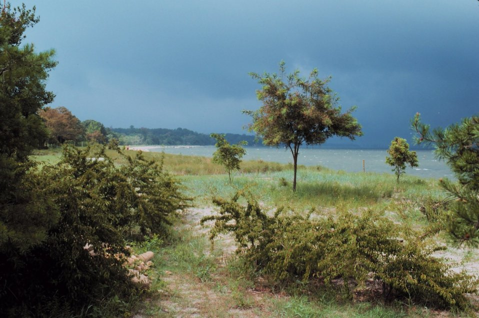 A storm is brewing on the lower Patuxent River.  Shoreline includes sand, grass, and brush.