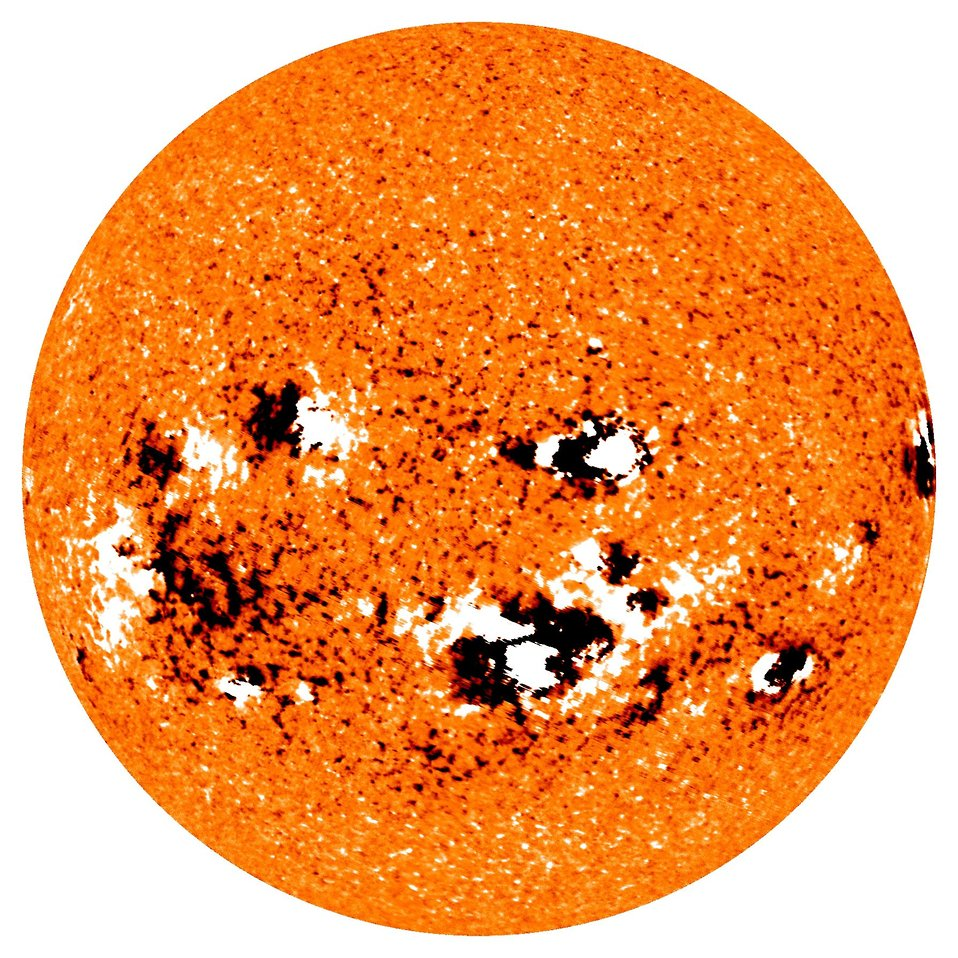 Image of solar storm activity on surface of sun.  Solar storms can cause disruption of communications as well as damage power grids and satellites.
