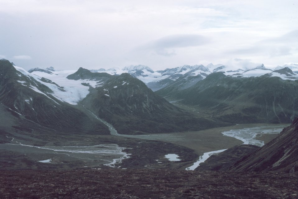 Mountains, glacial valleys, and a river valley on a gray day in Redoubt Volcano area.