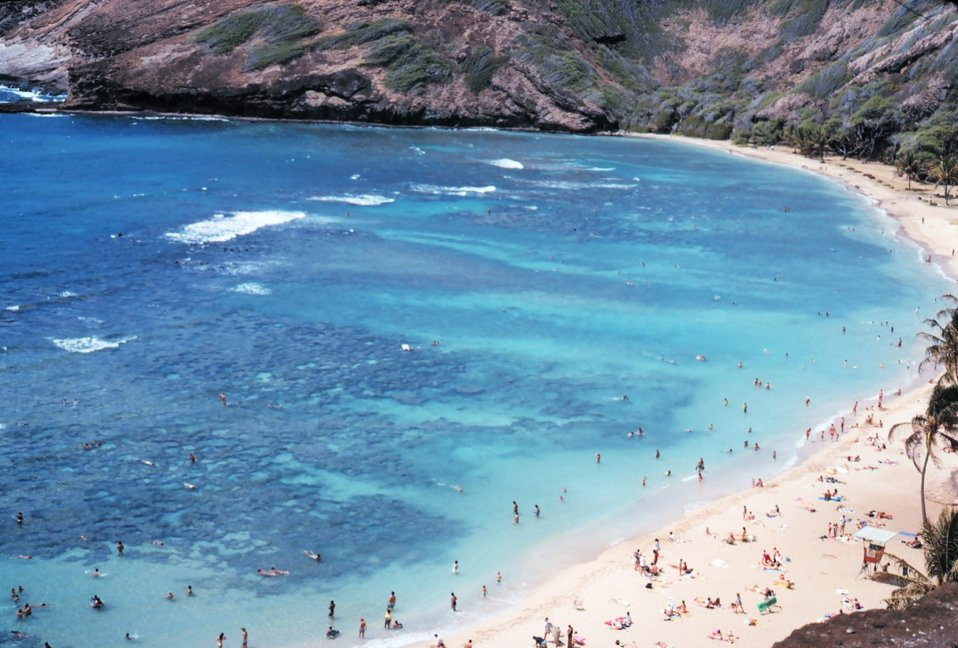 Hanauma Bay, a breached volcanic crater