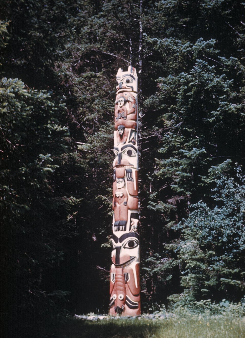 Totem pole at Sitka National Monument