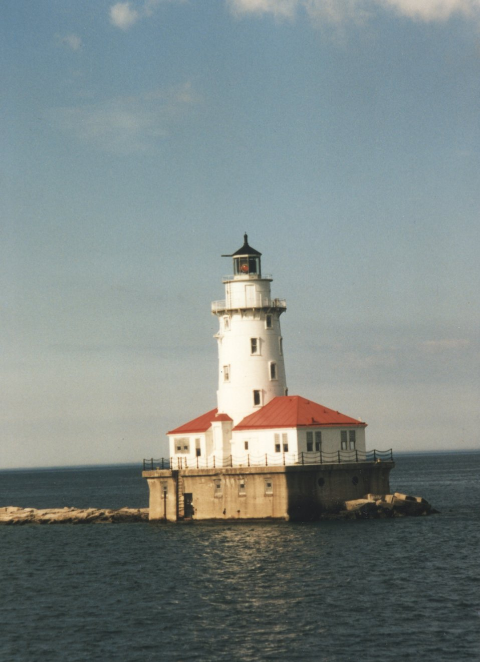 Chicago Breakwater Lighthouse on Lake Michigan