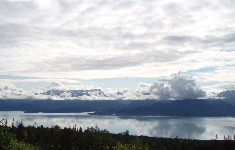Cloud and mountain reflections at Kachemak Bay.