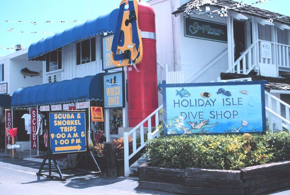 A colorful dive shop