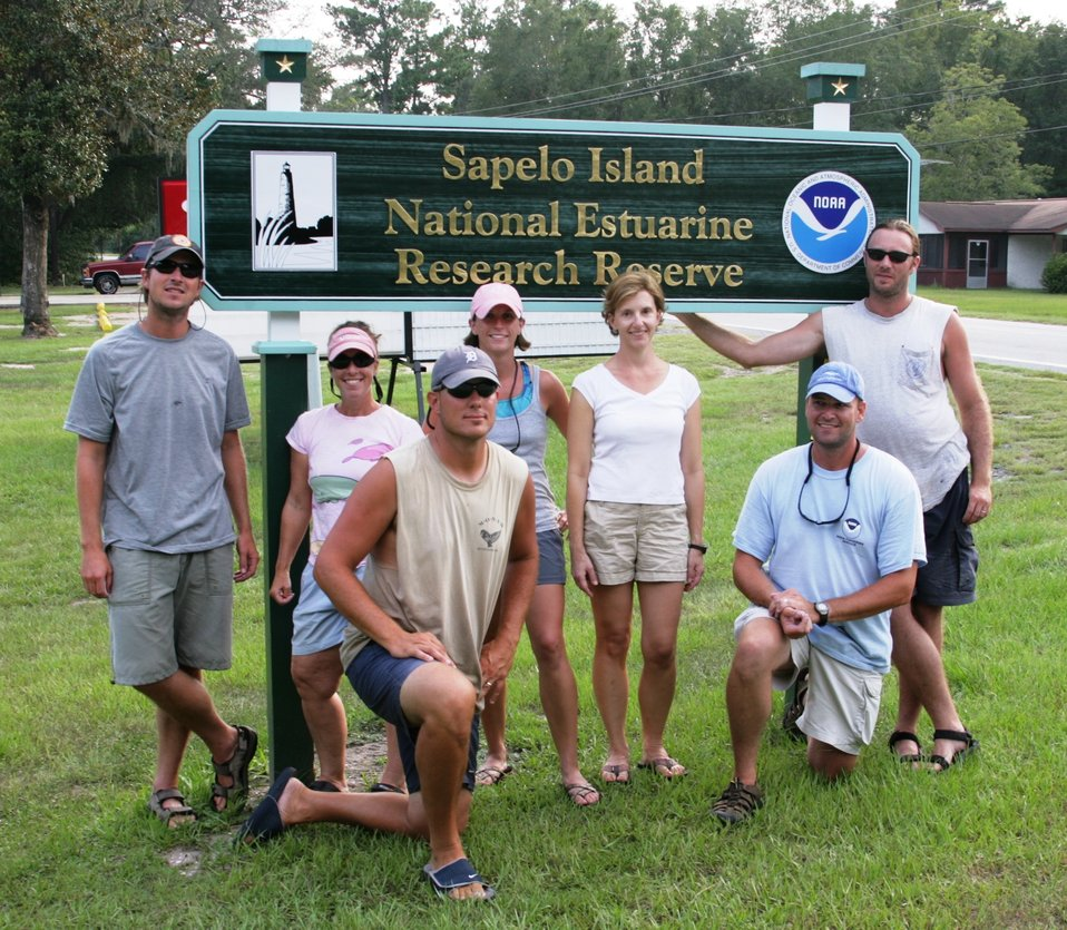 Greetings from the Sapelo Island National Estuarine Research Reserve where NOAA researchers recently conducted dart biopsy sampling of bottlenose dolphins.  L-R  back: Todd Speakman, Karen Coomer, Sarah Howlett, Lori Schwacke, J. D. Dubick; Front L-R: Er
