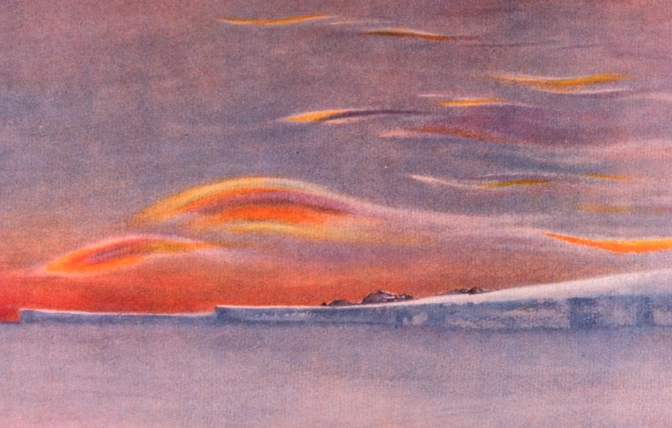 Iridescent clouds looking north from Cape Evans.  In: 'Scott's Last Expedition', 1913.  Dodd, Mead, and Company, New  York. P. 257.  Vol. I.  Library Call Number G850 1910 .S35 1913.