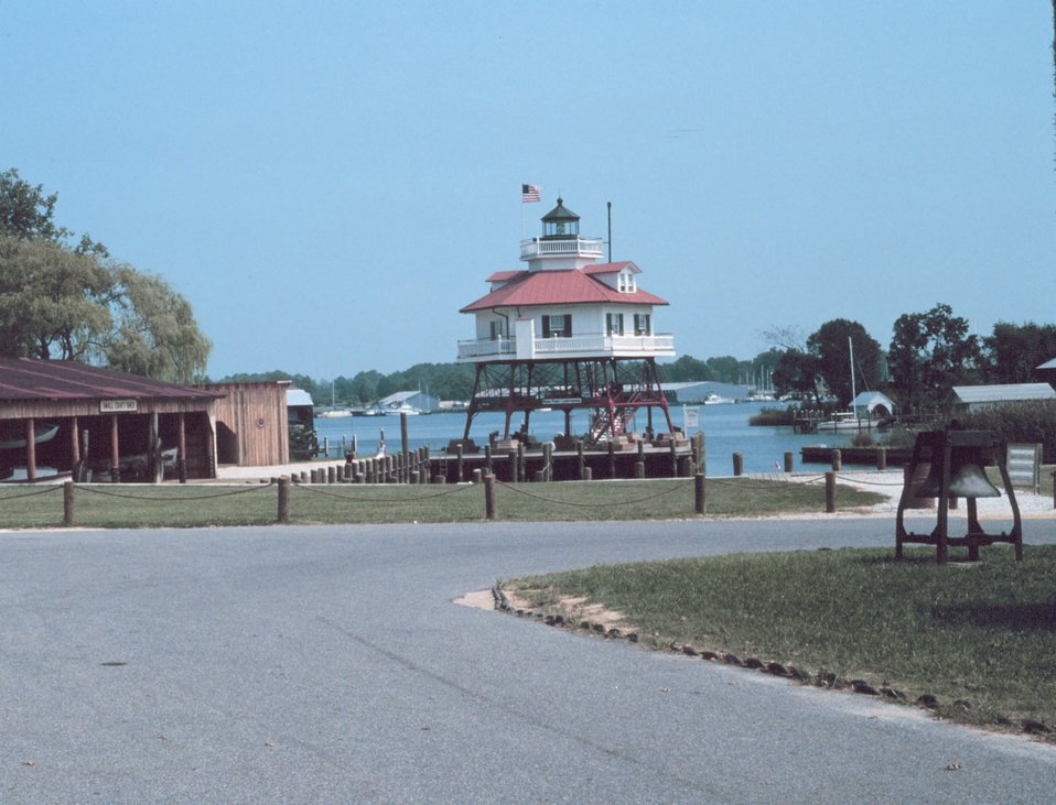 The Drum Point Lighthouse after being moved to Solomon's Island