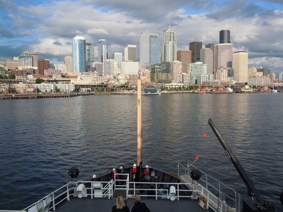 The Seattle waterfront as seen from the NOAA Ship BELL SHIMADA.