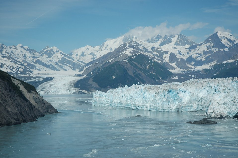 Aerial photograph. The front of Hubbard Glacier in Yakutat Bay.