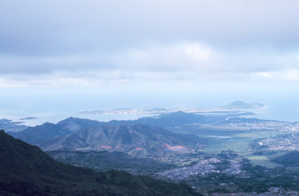 Looking down to the Kaneohe Bay area