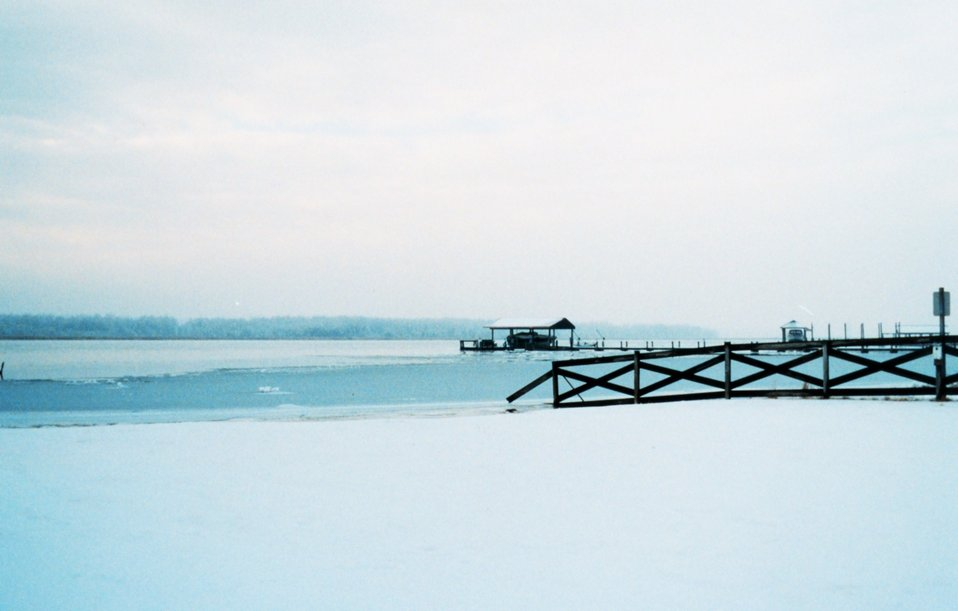 A wintry vista along a frozen snow-covered Patuxent River