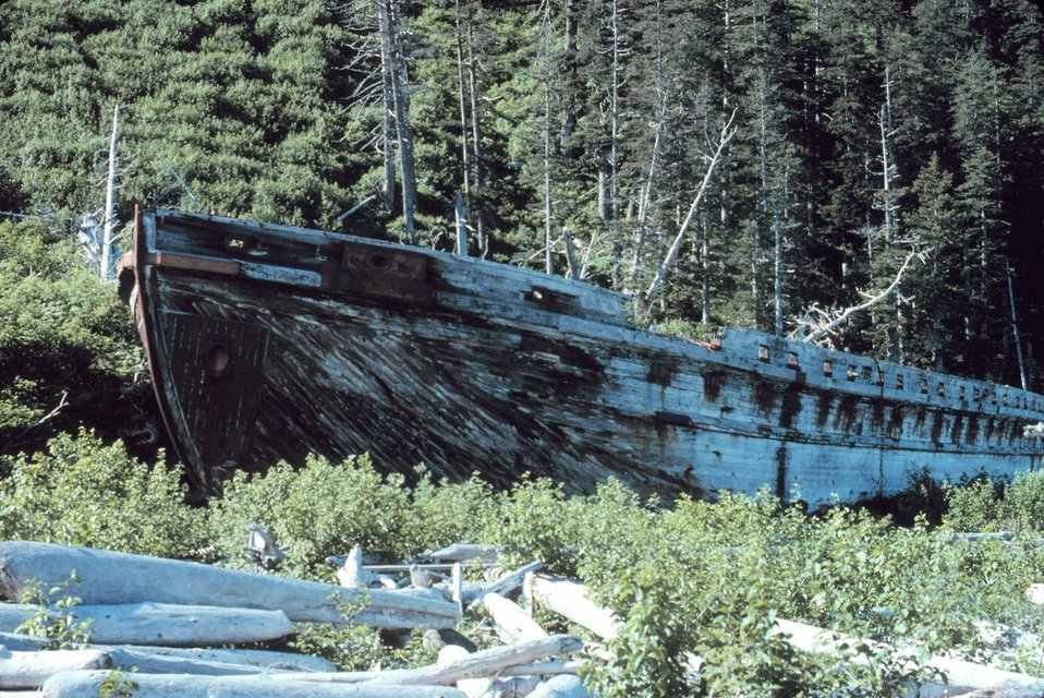 An old wooden ship cast ashore.