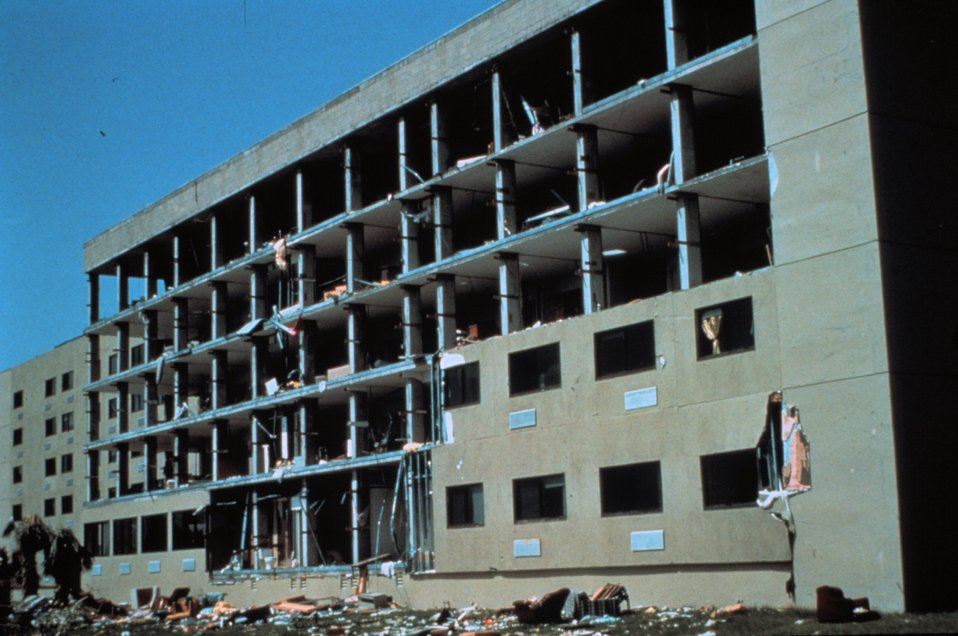 Hurricane Andrew - Shearwall of apartment building literally pealed off by winds