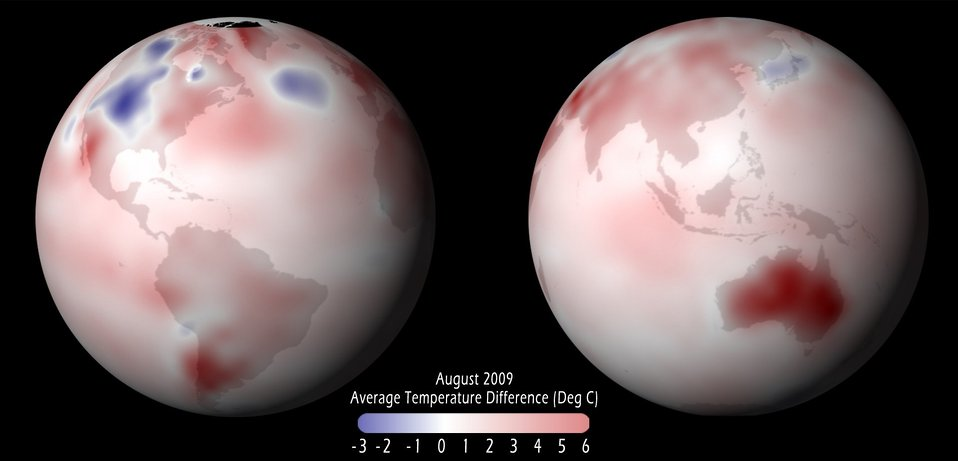 Graphic of global temperature anomaly for August 2009.  North America was experiencing a cooler summer while Australia and southern South America were having a very warm winter.