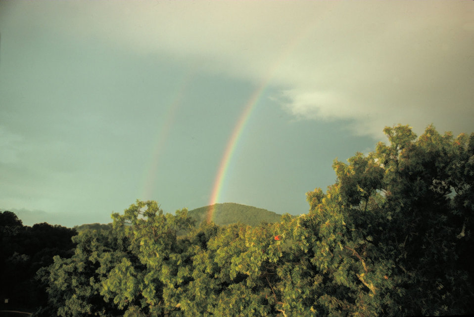 A primary and secondary rainbow - note reversal of spectrum Reversal caused by second bow being produced by 2 internal reflections