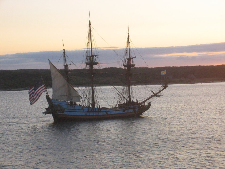 Delaware's tall ship, the KALMAR NYCKEL, sailing into the sunset.  This ship is homeported in Wilmington, Delaware.