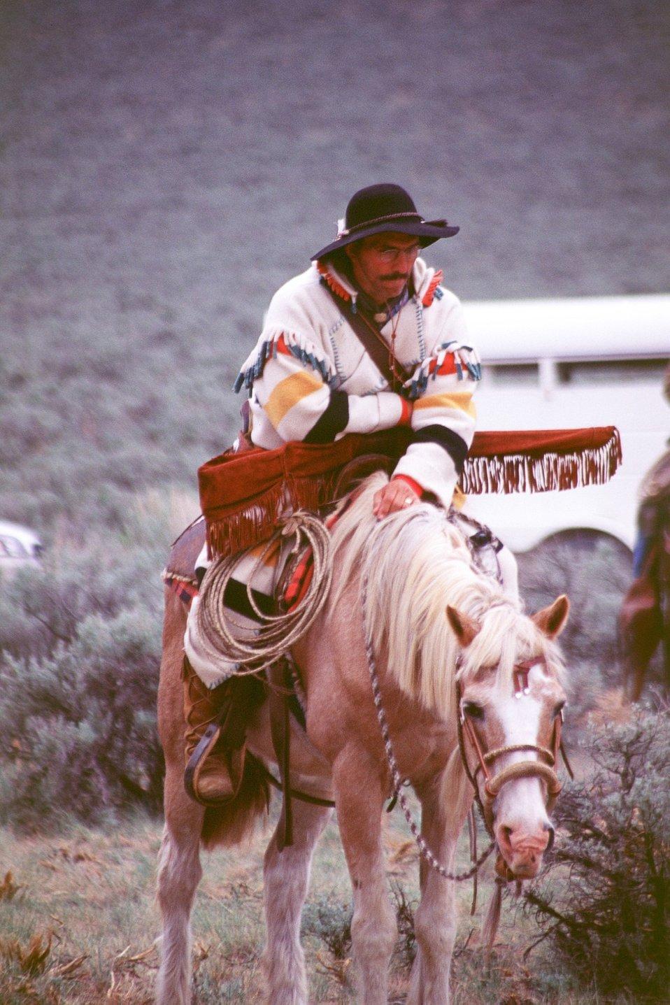NHOTIC 10th Anniversary, wagon train reenactment. Pioneer scout on horseback.