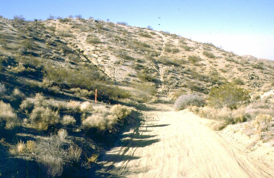 Hillside erosion caused by still active trespass routes