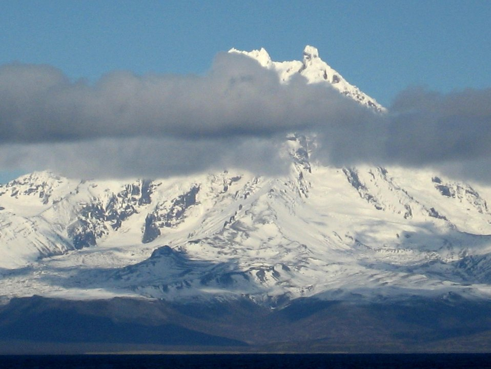 Isanotski Volcano on Unimak Island, also called Ragged Jack because of its prominent horns.