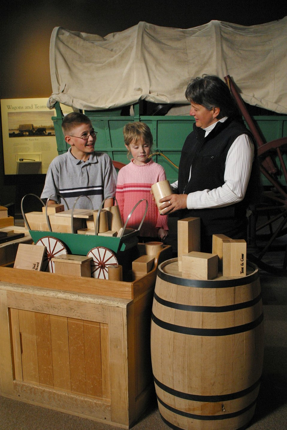 Visitors can use the interactive display to decide what to put into their wagon before leaving on their Oregon Trail journey.