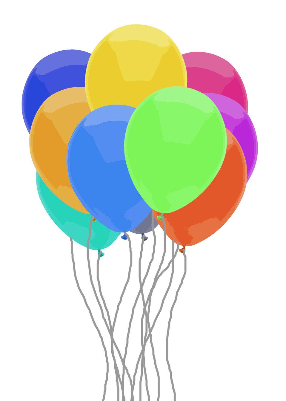 Rainbow balloon bunch