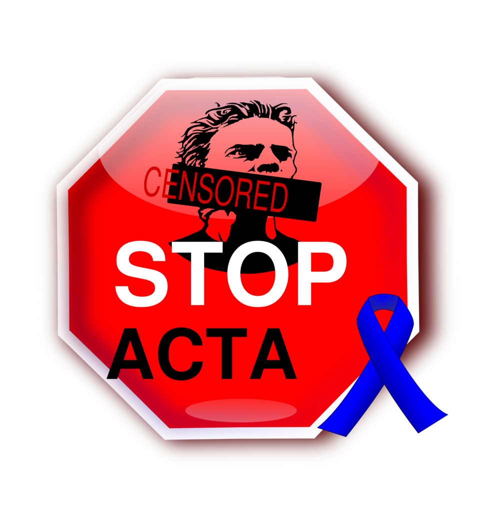 Stop ACTA with blue ribbon